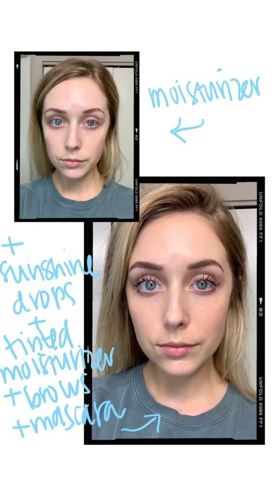 bare skin vs drops and mascara