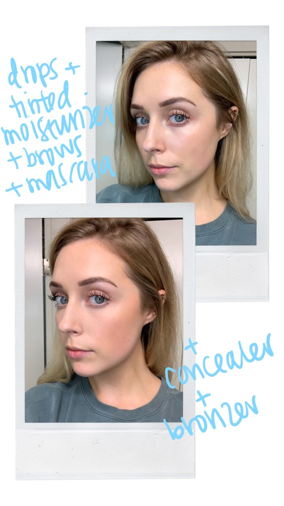 drops and tinted moisturizer vs concealer and bronzer