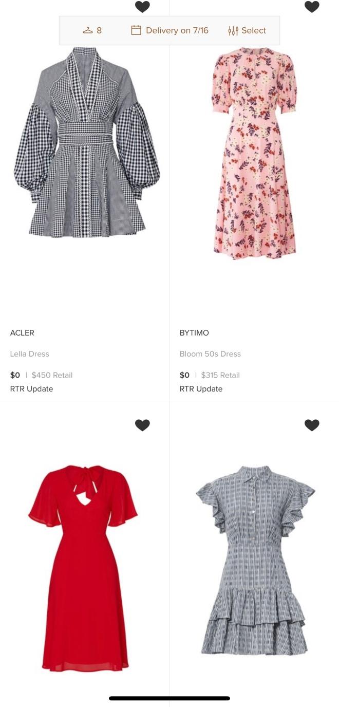various dresses on rent the runway app