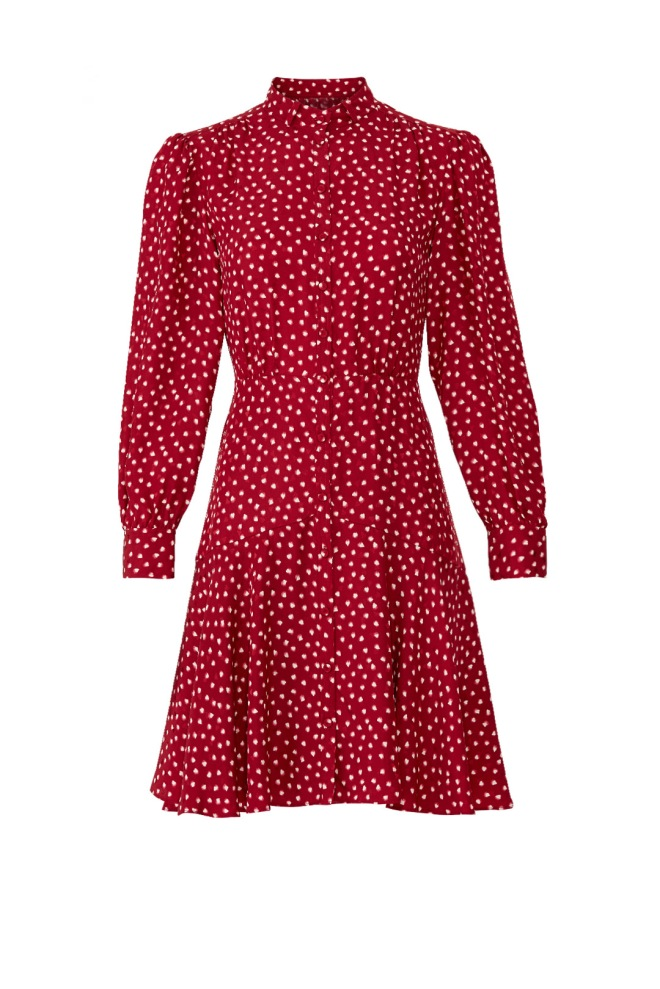 red heart print dress