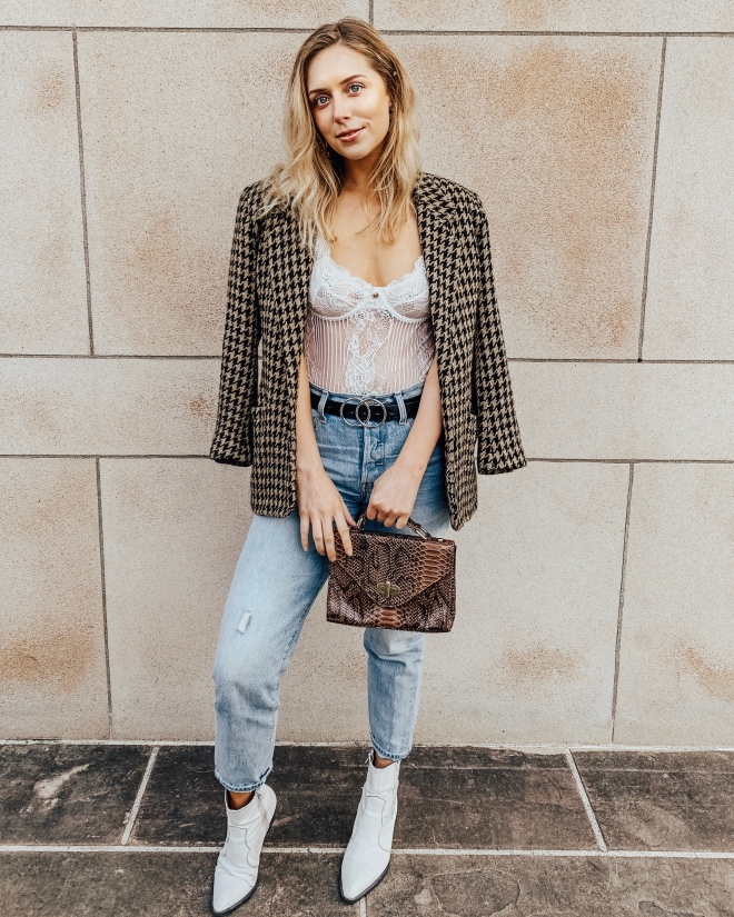 blazer bodysuit outfit